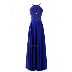 Floor Length Navy Blue Zipper Back Jewel-neck Bridesmaid Dress With Beading