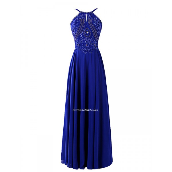 Floor Length Navy Blue Zipper Back Jewel-neck Bridesmaid Dress With Beading New Arrival