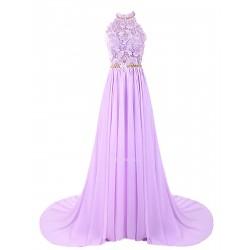 Sweep Brush Train Lace Handmade Beading Dress Open Back Halter Neck Chiffon Bridesmaid Dress