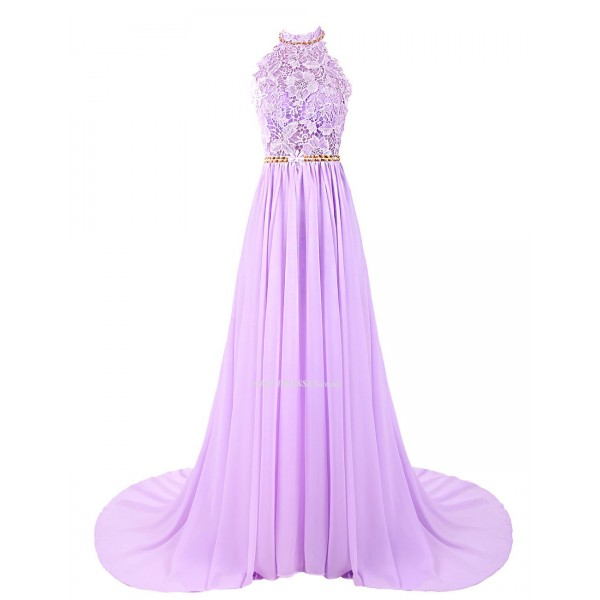 Sweep/brush Train Lace Handmade Beading Dress Open Back Halter-neck Chiffon Bridesmaid Dress New Arrival