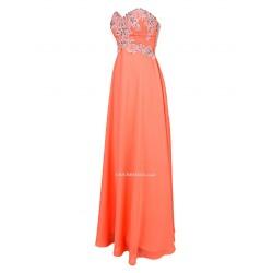 A-line Floor Length Orange With Sequins Strapless Bridesmaid Evening Dress