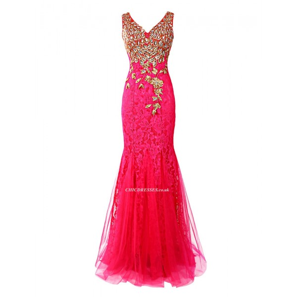 Mermaid/Trumpet Embroidery Red Lace Zipper Back V-neck Bridesmaid Dress With Sequins New Arrival