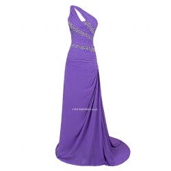 Sheath/Column Sweep/Brush Train Long Purple Eveninmg Dress One Shoulder With Beading Side Draping Bridesmaid Dress