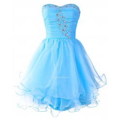 Mini Short Blue With Beading Lace-up Back Strapless Party Bridesmaid Dress