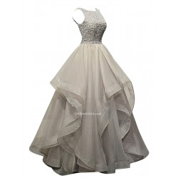 Asymmetrical Long Handmade Beading Dress V Neck Back With Ruffles Party Dress
