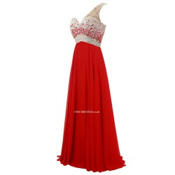 A-line Floor Length Red Chiffon Evening Dress One Shoulder With Beading Bridesmaid Dress