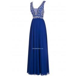 Sheath/Column Floor Length Blue Chiffon With Beading Straps Bridesmaid Dress