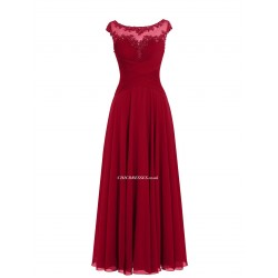 A-line Simple Floor Length Red With Lace Appliques Bridesmaid Dress