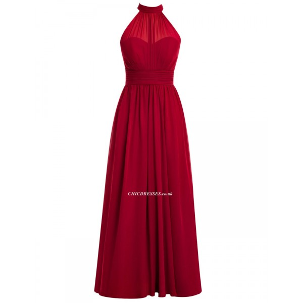 New Floor Length Red Bridesmaid Dress Stras Back High Neck Evening Dress New Arrival