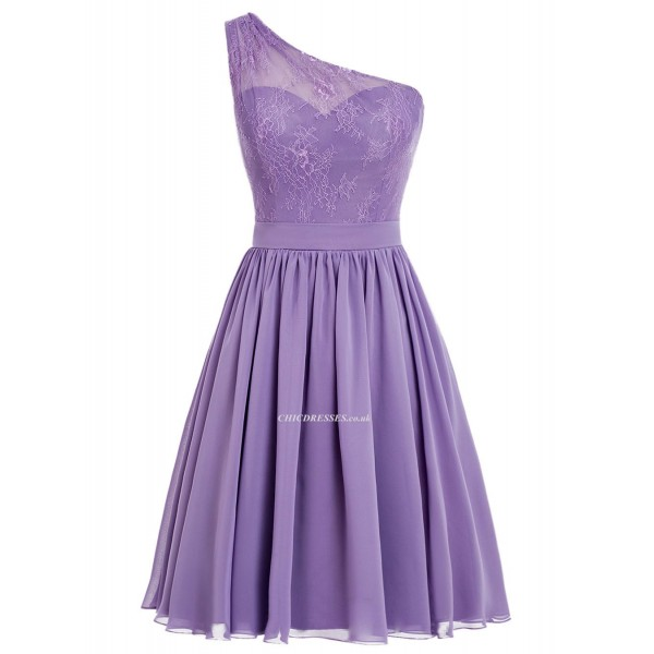 One Shoulder Knee Length Short Bridesmaid With Zipper Under Arm New Arrival