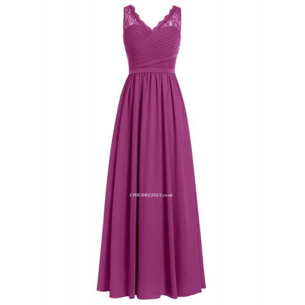 Simple Floor Length V-neck Bridesmaid Dress/Party Dress New Arrival