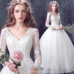 Elegant Princess Lace Long Sleeves V Neck Floor Length Modern Wedding Gown