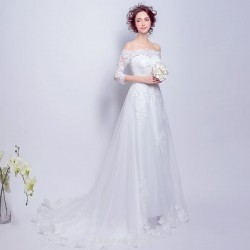 A-line Off The Shoulder Medium and Long Sleeves Lace/Tulle Sweep/Brush Train Modern Chinese Wedding Dress