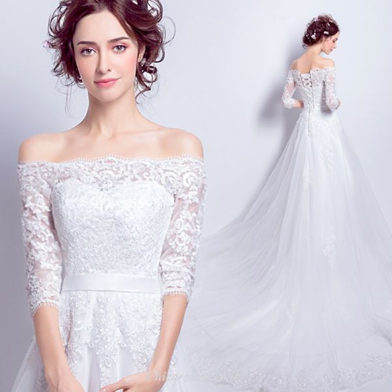 A-line Off The Shoulder Medium And Long Sleeves Lace/Tulle