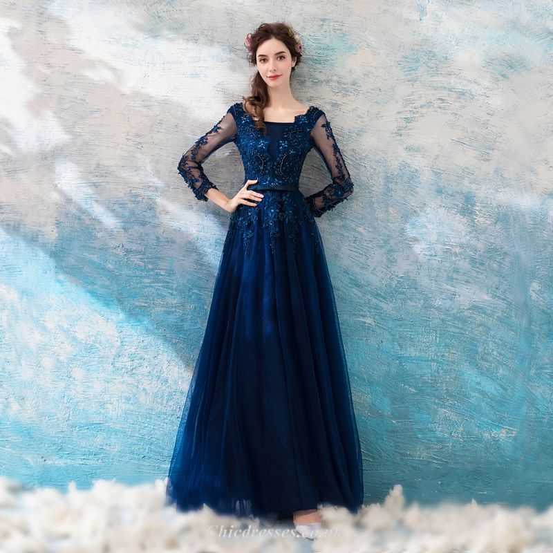 A Line Floor Length Deep Sea Blue Lace Long Sleeves Evening Dress With Appliqueabeading
