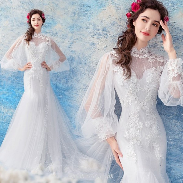 Mermaid/Trumpet Spring New 2019 Sleeved Shawl Sweep/Brush Train Chinese Wedding Dress With Appliques/Handmade Beading New Arrival