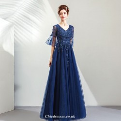 Noble and Elegant Sapphire V-collar Medium and Long Sleeves Evening Dress With Appliques Sequined