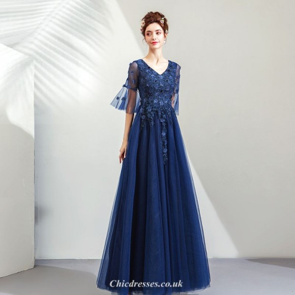 Noble and Elegant Sapphire V-collar Medium and Long Sleeves Evening Dress With Appliques Sequined New Arrival