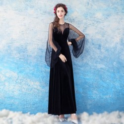 Noble and Fashionable Black Bishop Sleeve Illusion-neck Evening Dress