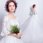 Romantic lace Horn Sleeve Court/Train Lace-up Back Wedding Dress With Appliques Sequines New Arrival