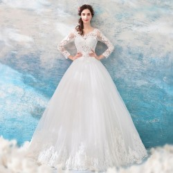 Ball Gown Chinese Wedding Dress Long Sleeves Hemline Lace Hollow Back
