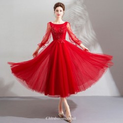 Fashionable Agate Red Long-sleeved Medium Length Lace-up Back Prom Dress With Appliques Beading