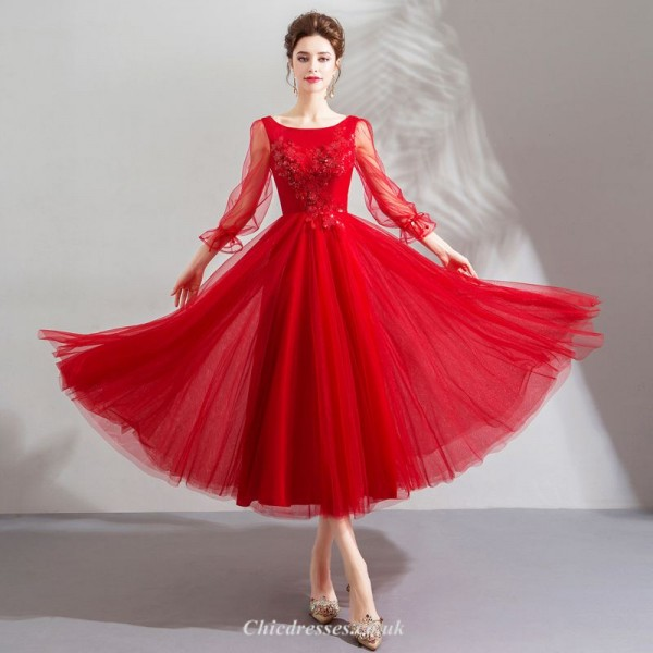 Fashionable Agate Red Long-sleeved Medium Length Lace-up Back Wedding Dress With Appliques Beading New Arrival