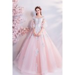 Ball Gown Cherry Blossom Pink Lantern Sleeve Floor Length With Appliques Sequines Chinese Wedding Dress New Arrival