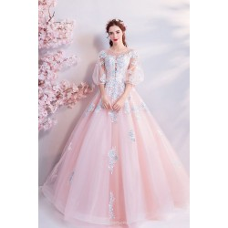 Ball Gown Cherry Blossom Pink Lantern Sleeve Floor Length With Appliques Sequines Chinese Wedding Dress