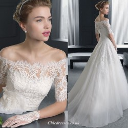 Elegant Temperament Medium and Long Sleeves Off The Shoulder Lace Appliques Sweep/Brush Train Chinese Wedding Dress