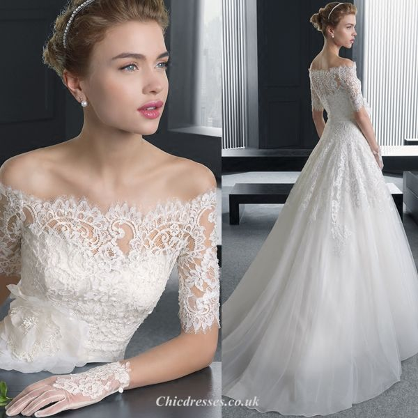 Elegant Temperament Medium and Long Sleeves Off The Shoulder Lace Appliques Sweep/Brush Train Chinese Wedding Dress New Arrival