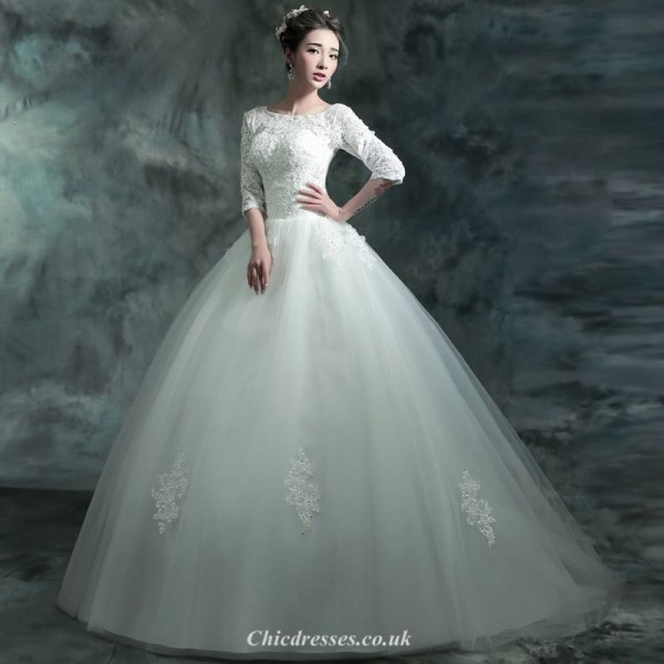 Ball Gown Sweep/Brush Train Medium and Long Sleeves Wedding Dress With Appliques Sequines New Arrival