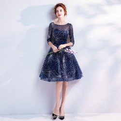 Deep Blue Starry Skirt Knee Length Medium and Long Sleeves Evening/Party Dress With Sequines