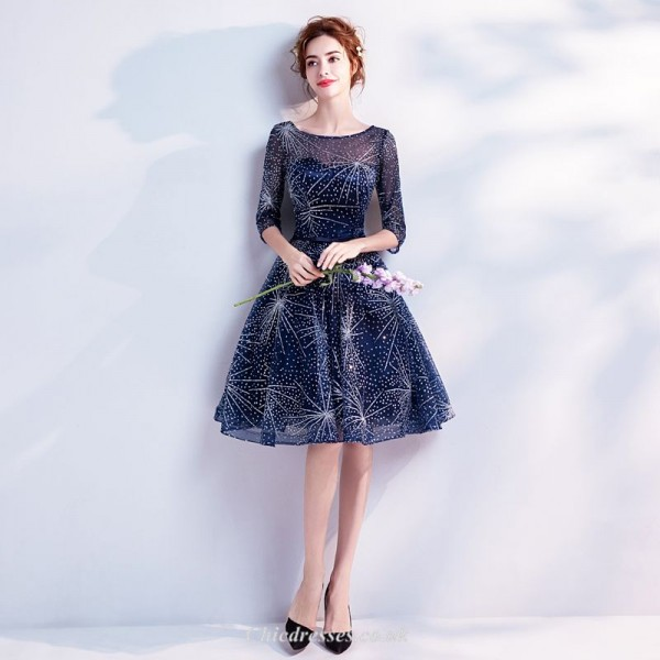 Deep Blue Starry Skirt Knee Length Medium and Long Sleeves Evening/Party Dress With Sequines New Arrival