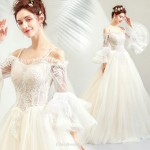 Beautiful and Dusty Shallow Champagne Lotus Leaf Sleeve Off The Shoulder Fish Tail Modern Chinese Wedding Dress New Arrival