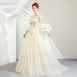 Beautiful and Dusty Shallow Champagne Lotus Leaf Sleeve Off The Shoulder Fish Tail Modern Chinese Wedding Dress