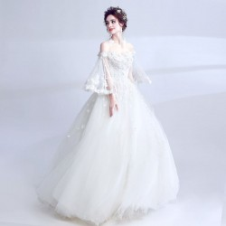 Elegant Floor Length Princess Handmade Stereoscopic Flowers Long Sleeve Lace Tulle Chinese Wedding Dress