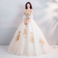 Ball Gown Palace Golden Stereo Embroidery Brides Perspective On Long Sleeve Strapless Chinese Wedding Dresses