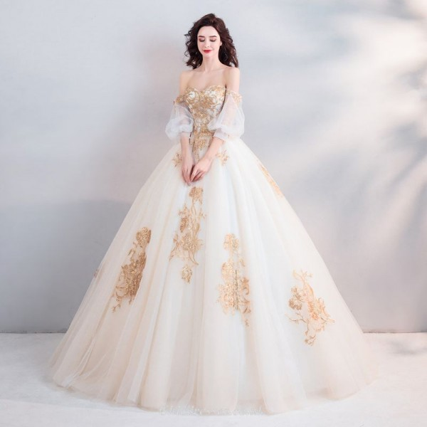 Ball Gown Palace Golden Stereo Embroidery Bride's Perspective on Long Sleeve Strapless Chinese Wedding Dresses New Arrival
