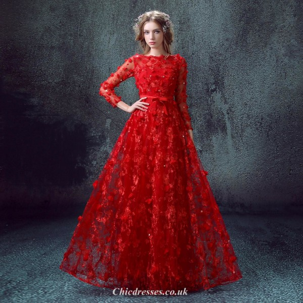 Floor Length Modern Chinese Wedding Dress With Handmade Flowers/Sequined /Bowknot Long Lace Sleeves Evening Dress New Arrival