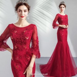 Mermaid Trumpet Boat Neck Fish Tail Red Organza Bride Dress Lace Beading Long Sleeve Prom Dress