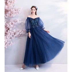 Modern Style Blue Horn Long Sleeve Evening Dress Off The Shoulder Lace-up Back Appliques Organza Wedding Dress