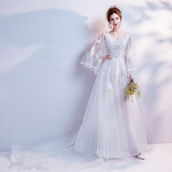 Fairy And Noble White Lace Appliques Long Sleeve Sweep Brush Train Bride Wedding Dress
