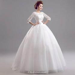 Elegant Princess Spring Bride Lace Long Sleeve Modern Wedding Gown