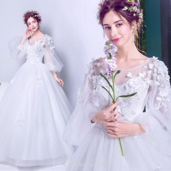 A-line Floor Length Stereoscopic Flowers Long Lantern Sleeve Spring Wedding Dress