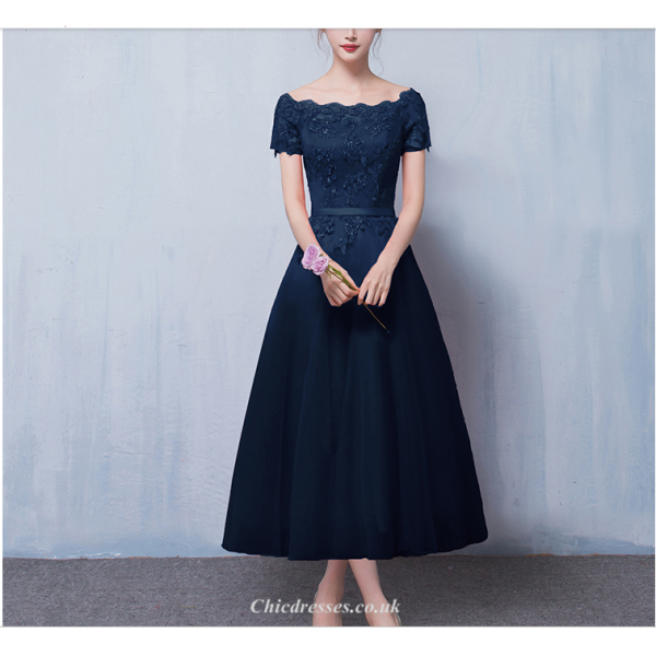A-line Medium-length Deep Blue Party Dress Off The Shoulder Lace-up Short Sleeve Evening Dress With Appliques New Arrival