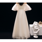 Fashionable Elegant Dress Boat-neck Long Evening Dress Lace-up Appliques Sequines Bridesmaid Dress