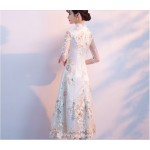 New Medium Length Exquisite Embroidery Retro Standing Collar Evening Dress New Arrival