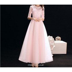 A-line Ankle-length Pink Chiffon Evening Dress Lace Collar Half Sleeve Lace-up Bridesmaid Dress