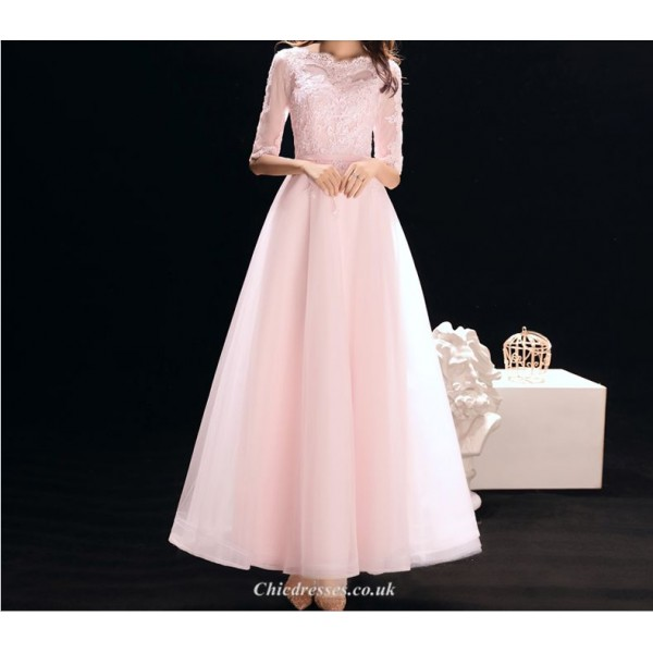 A-line Ankle-length Pink Chiffon Evening Dress Lace Collar Half Sleeve Lace-up Bridesmaid Dress New Arrival